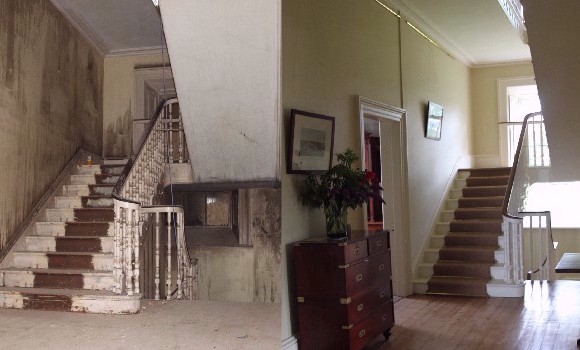 Before/After Fire Damage Stairwell